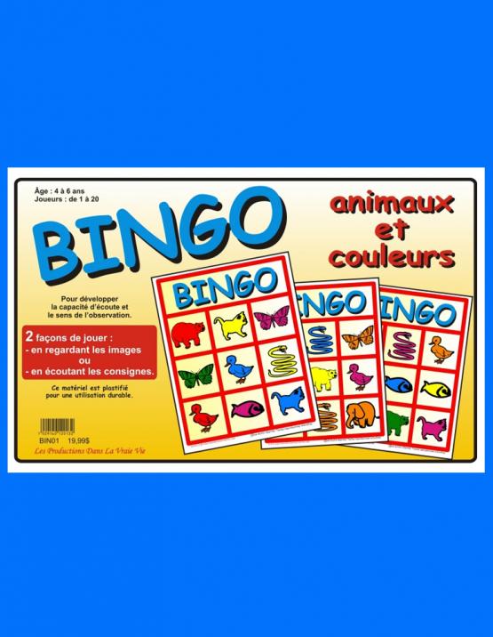 BINGO Animaux et couleurs, jeux éducatifs