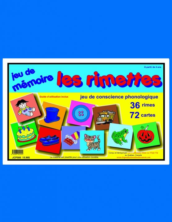 Jeu de mémoire Les rimettes, jeux éducatifs
