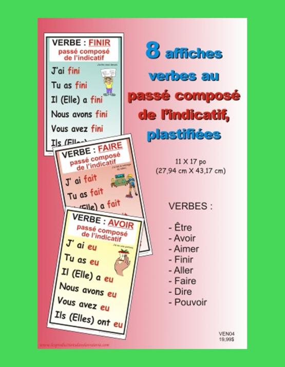 8 affiches verbe passé composé de l'indicatif
