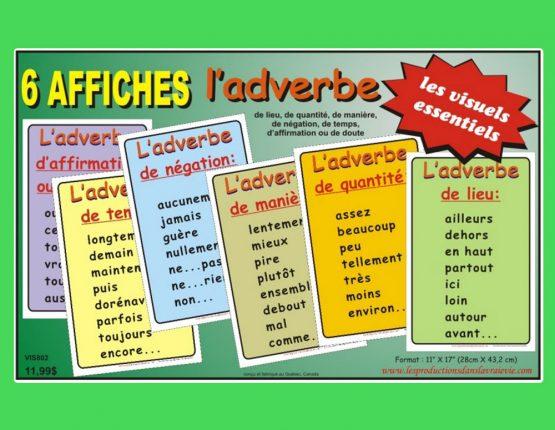 Ensemble de 6 affiches L'adverbe