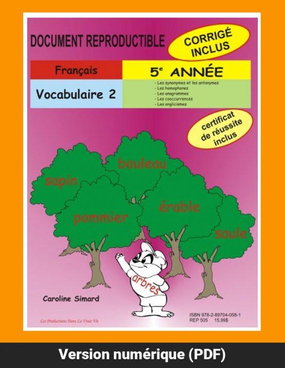 Vocabulaire 2 par Caroline Simard, Reproductible, PDF