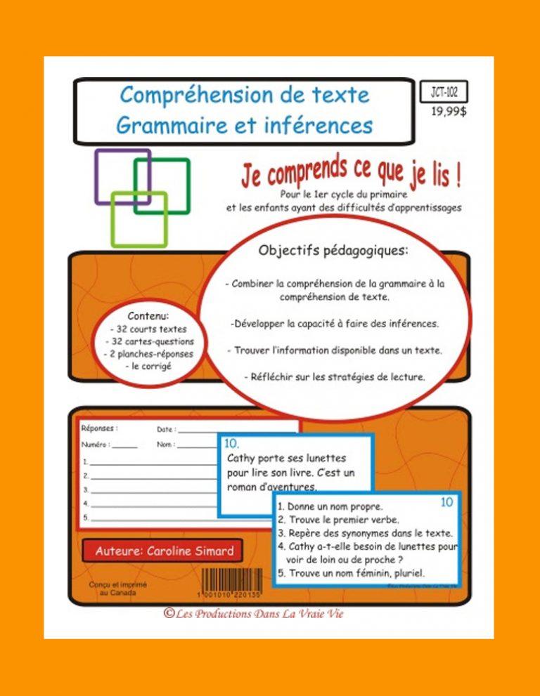 Comprehension de texte Grammaire et inférences