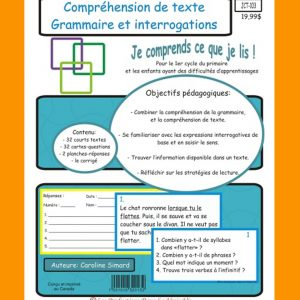 Comprehension de texte Grammaire et interrogations