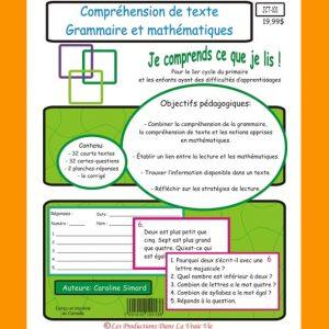 Comprehension de texte Grammaire et mathématiques
