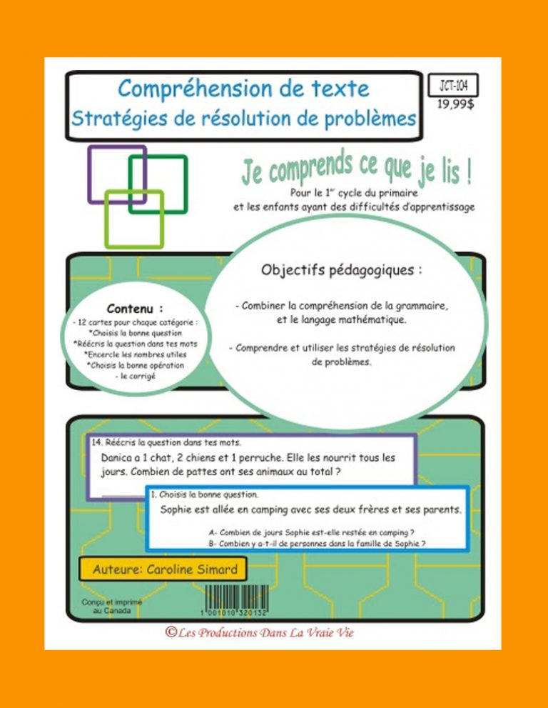 Comprehension de texte Stratégies de résolution de problèmes