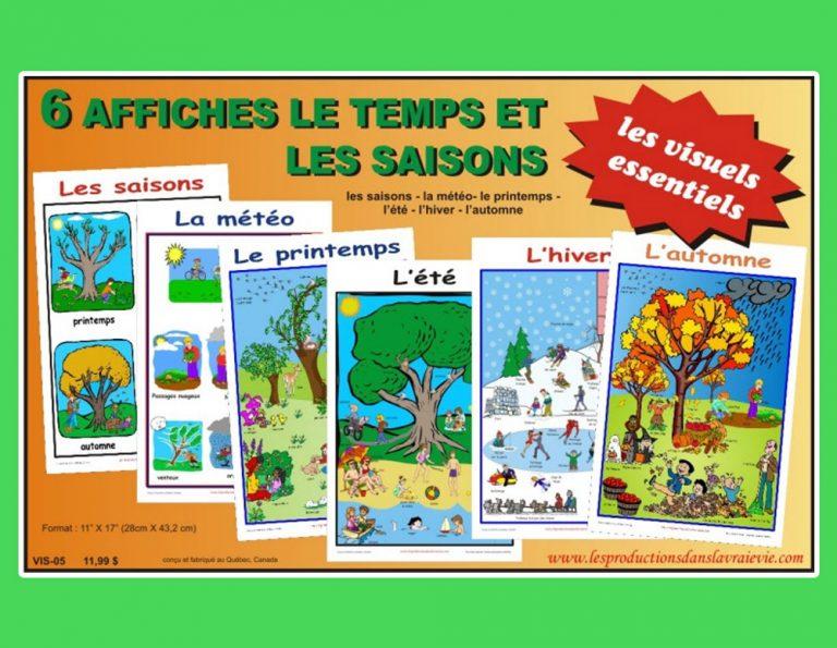 Ensemble de 6 affiches Le temps et les saisons