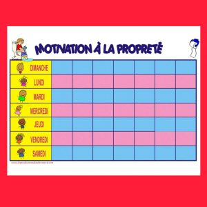 Tableau de motivation à la propreté