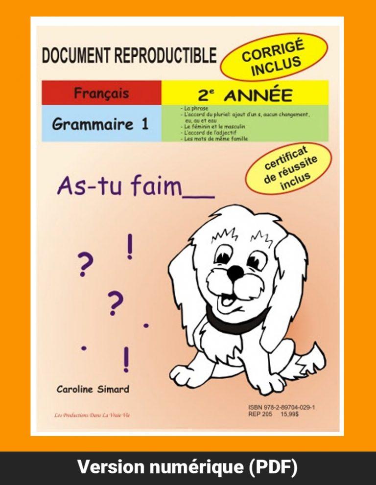 Grammaire 1, 2e année par Caroline Simard, Reproductible, PDF