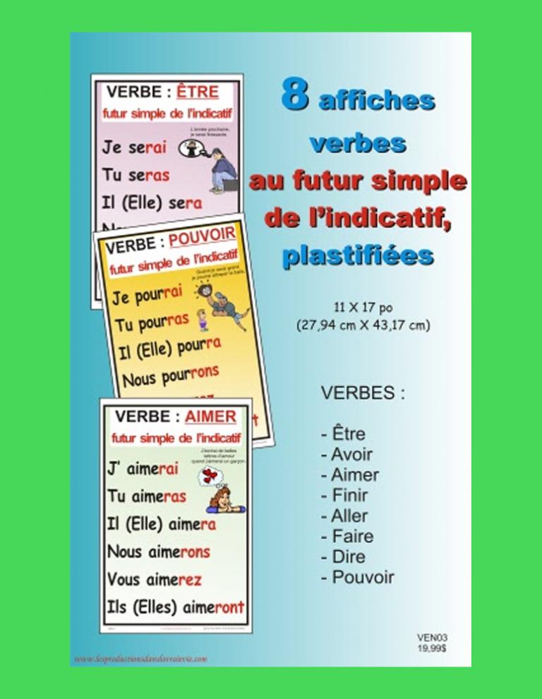 8 affiches de verbe au futur simple