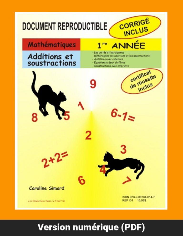 Additions et soustractions, mathématique, 1re année, reproductible, PDF
