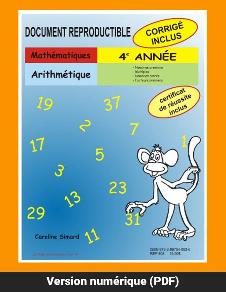 Arithmétique, 4e année par Caroline Simard, Reproductible, PDF