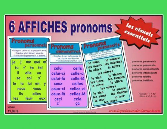Ensemble 6 affiches pronoms