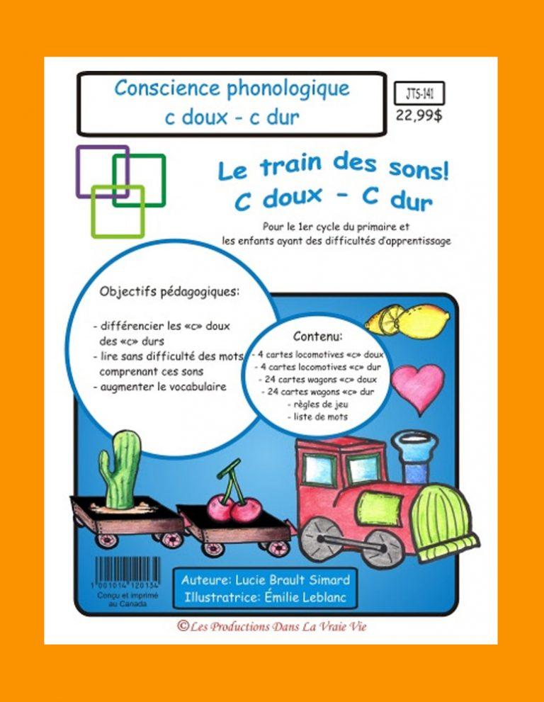 Jeu éducatif de conscience phonologique Le train des sons (c doux - c dur)