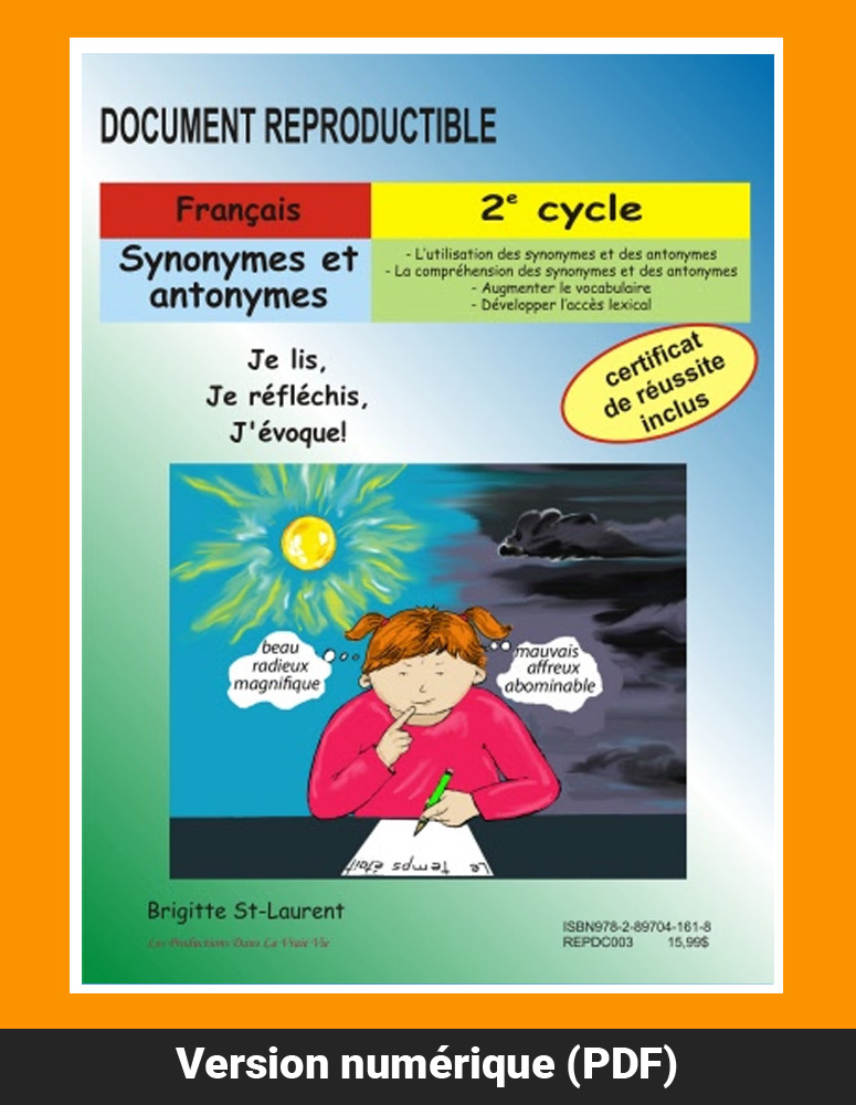 Synonymes Et Antonymes 2e Cycle Ressources Pedagogiques Dans La