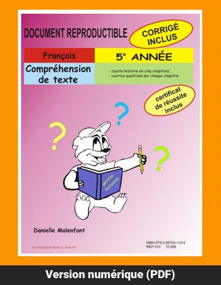 Compréhension de texte, 5e année par Caroline Simard, Reproductible, PDF