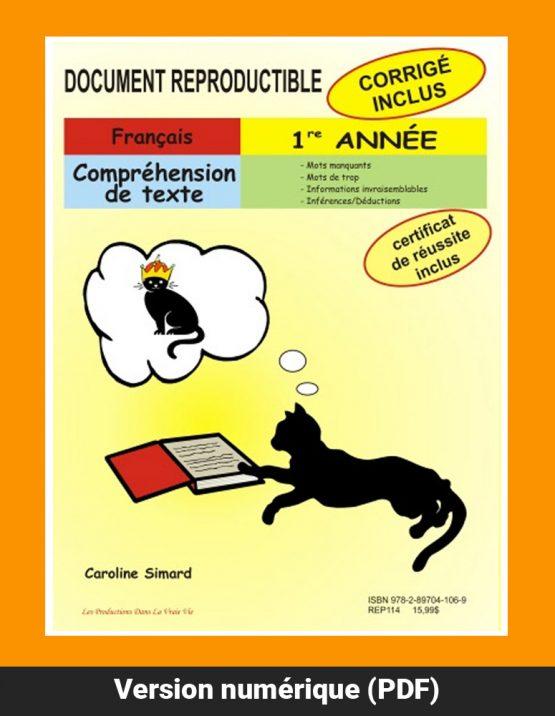 Compréhension de textes, 1re année par Caroline Simard, Reproductible, PDF