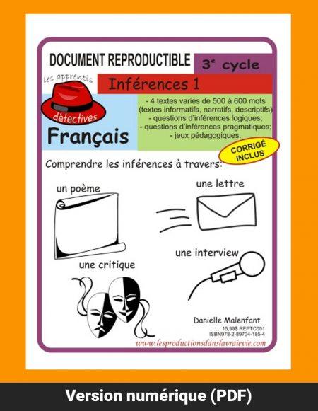 Inférence 1, 3e cycle par Danielle Malenfant, Reproductible, PDF