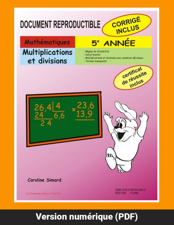 Multiplications et divisions par Caroline Simard, Reproductible, PDF