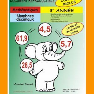 Nombres décimaux, 3e année par Caroline Simard, Reproductible, PDF