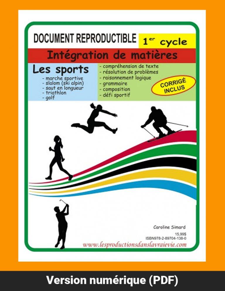 Sports 1er cycle, par Caroline Simard, Reproductible, PDF