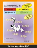 Vocabulaire 1, 6e année par Caroline Simard, Reproductible, PDF