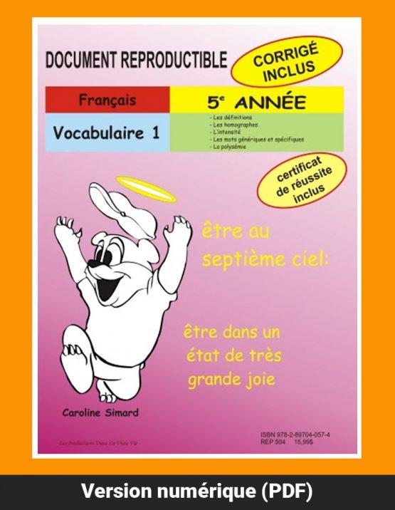 Vocabulaire 1 par Caroline Simard, Reproductible, PDF